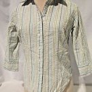 Talbots Blouse Shirt Women's Size Petite 3/4 Sleeve Striped Sear Sucker