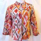Chico's Bishop Collar Jacket Women's 1 (M) Multi Color 3/4 Sleeves Light Weight