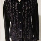 Disney Small Women's Heavy Velour Top with Mickey Buttons Black Cozy!!