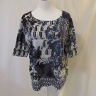 Chico's Shirt Blue & White Floral Size 0 (Small) Crystal Accents Short Sleeves
