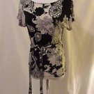 Talbots Shirt Versatile Tie Sash Women's P Petite Black White Floral Scoop Neck
