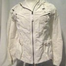 Eddie Bauer Jacket Women's Medium  Hood White Pockets Zip Front