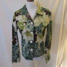 Chico's Floral Jean Style Jacket Women's 0 (Small) Multi Color Long Sleeve
