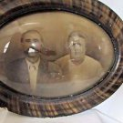 Large Antique Oval Tiger Wood Domed Convex Bubble Glass Framed Mom & Pop Couple