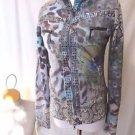 ALBERTO MAKALI Peacock Jacket Women's Sz S Long Sleeve Zip Front Faux Fur Lined