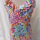 LAUREN RALPH Lauren Shirt Top Women's Size PM Sleeveless Floral Ruffle Collar