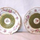 Set 2 Bread & Butter Plates Ornate Floral Shabby Chic Cottage GDA Limoges France