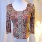Talbots Cardigan Sweater Women's Petite S Paisley Floral Beads Pearl Buttons