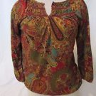 LAUREN RALPH LAUREN Peasant Shirt Women Size PS 3/4 Sleeves Paisley Bohemia Top
