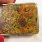 Vintage Flower Decorated Pocket Purse Vanity Pill Box 3 compartment liner