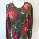 Talbots Petites Cardigan Sweater Women's P Green Floral Zipper Front Long Sleeve