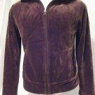 Talbots Velour Jacket Women's Medium Brown Soft Comfy Zipper Front