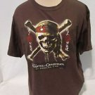 Pirates Of The Caribbean T-Shirt Women's XL Skull Cross Bones Brown Disney