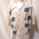 Men's Quick Silver Hawaiian Shirt BIG XLTG Short Sleeve Palm Trees Cream