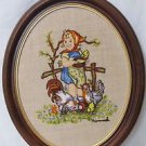 Vintage Crewel  Framed Hummel Feeding Time, Embroidery On Linen