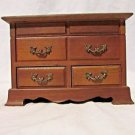 Vintage Musical Jewelry Box Chest Wood 2 Drawer Top Opening Lid  Handles
