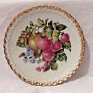 "VINTAGE HAND PAINTED PLATE SCALLOPED EDGE 6 1/4"" FRUIT GOLD TRIM MARKED 7403"