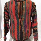 Norm Thompson Sweater Men's Medium  Crew Neck VTG 90s Crazy Knit Color Pullover
