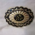 Vintage Oval Goldtone & Black Belt Buckle With Decorative Cap Center