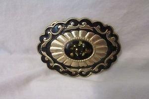 Vintage Oval Goldtone & Black Belt Buckle With Decorative Cap Center