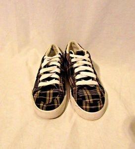 Ralph Lauren Tennis Shoes Sneakers Men's 9D Humberto Navy Yellow Plaid Madras