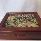 Vintage Mele Wood Jewelry  Box Tapestry Top Mirror Lined in Red
