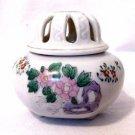 Vintage Ceramic Lidded Incense Burner Jar Pot Asian Floral Design Made in Japan