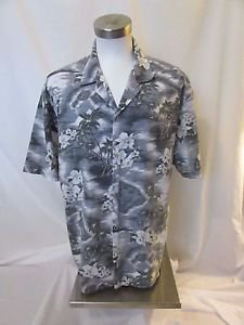 Vintage KY'S Men's 2XL Hawaiian Button down Shirt Gray with flowers