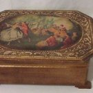 Vintage Wood Jewelry Box Victorian Musical Box Painted Gold Made In Japan