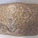 Vtg Silver Plate on Bronze Belt Buckle CRUMRINE El Arturo Rodeo Cowboy Western