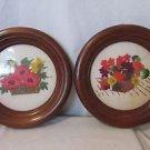 Vintage Set of 2 Crewel Floral Pictures Framed Hand Stitched Handmade Walnut
