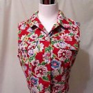 Talbots Sleeveless Vest Shirt Women's Small Floral Denim On Red Background