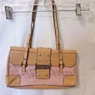 New Purse Shoulder Hobo Bag Tan and Pink Embossed