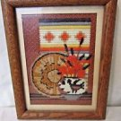 Southwestern FRAMED CREWEL EMBROIDERY Native American Design Rich Warm Colors