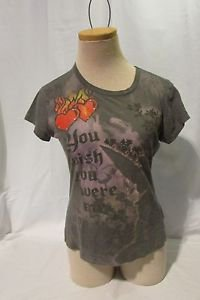 Tinkerbell Disney T-Shirt Women's Medium Wish you Were Here Hearts, Flames Gray