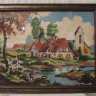 "VTG NEEDLEPOINT AUTUMN COTTAGES FARM Completed 22.5"" X 17.5"" RUSTIC FRAME"