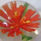 Vintage Art Glass Paper Weight Orange  Flower Art Glass
