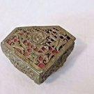 Vintage Trinket Box Felt Lined Jewelry Casket Japan  Filigree Metal Triangular