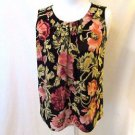 Talbots Petite Gathered Front Sleeveless Shirt Women's Petite Multi Color Floral