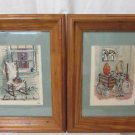 2 Cross Stitch Framed Pictures Matted Country Home Scenes With Pine Frames