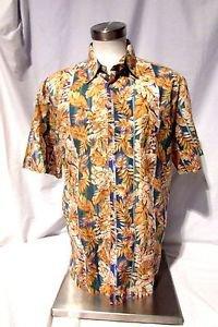Tori Richard Hawaiian Camp Shirt Men's Large Golden Floral Aloha Print