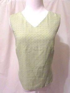 Tommy Bahama Shirt Top Women's XS Light Green Silk Sleeveless Zipper Back V Neck