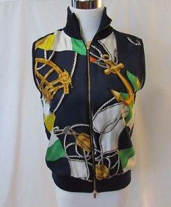Lauren Ralph Lauren Nautical Silk Vest Women's P/M Quilted Lining