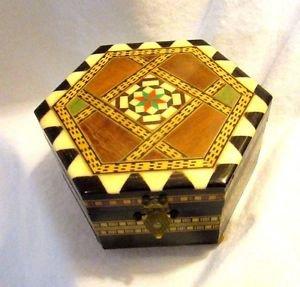 Sorrento Wood Inlay Jewelry Music Box Hexagon Shape