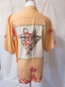 Tommy Bahama Back Embroidered Silk Shirt Blouse Women's Small Floral Peach