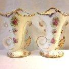 Peasant Village Set Of 2 Ceramic Vases Cornucopia Horns Floral Gold Trimmed made