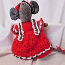 Christmas Mouse Handmade Crochet Red Hat and Dress  Country Christmas 13""