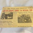 Antique Newspaper May 9th 1945 End Of WWll The N&O Raleigh NC.