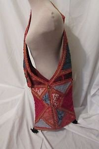 EMBROIDERED PATCHWORK SHOULDER TOTE BAG HANDMADE MIRROR WORK ART  FAIR TRADE