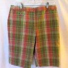 Talbots Madris Plaid Shorts Bermuda Women's Large (12-14) Pink Green